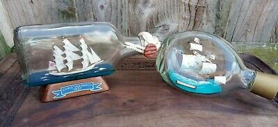 TWO Vintage Ships in  Glass Bottles