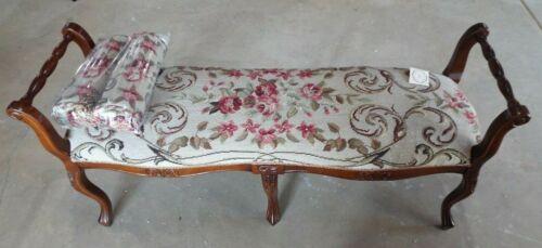 Vintage hand tapestry floral bench