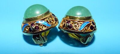 ANTIQUE CHINESE FILIGREE SILVER ENAMEL & JADE CLIP-ON BUTTON EARRINGS
