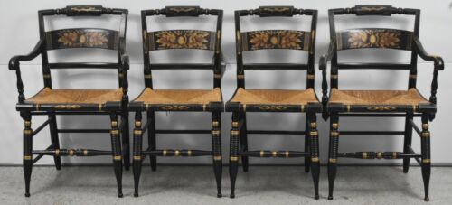 Set of 4 Black Hitchcock Chairs Handpainted Gold Leaf Harvest design, Rush Seat