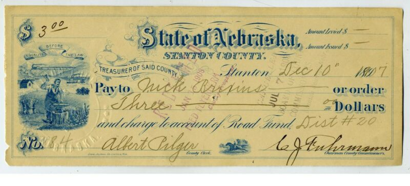 CHECK - NEBRASKA – TREASURER OF STANTON CO.  GRAPHICS