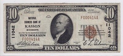 1929 National Farmers Bank Of Kasson  Mn  10 Note Ch 11042 F000414a