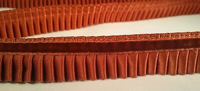 "3 YDS TUSCANY 1"" CURRY PLEATED SATIN RIBBON TRIM VELVET BAND DRAPERY UPHOLSTERY"