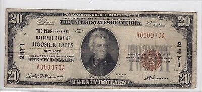 1929 Peoples First National Bank Of Hoosick Falls  Ny  20 Note Ch 2471 A000070a