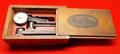 Antique Machinist Original Micro Master Dial Indicator In Original Wood Box