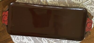 Antique Ebony Tray Lacquered and Carved Out Handles 24