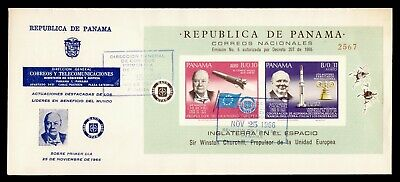 DR WHO 1966 PANAMA FDC CHURCHILL NATO SPACE S/S IMPERF  g21805