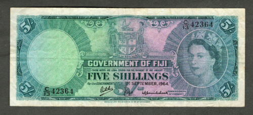FIJI 1964 FIVE SHILLINGS NOTE, P51d