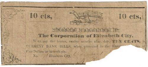 NC Civil War Banknote 1861 Elizabeth City Scrip 10 Cents (PLOW)