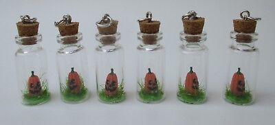 u set of 6 glass bottle JACK O LANTERN pumpkin Halloween Charm pendant jewelry (Ganz Halloween Jewelry)