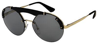 Prada Sunglasses PR 52US 1AB3C2 37 Black/Gold Frame | Grey Lens