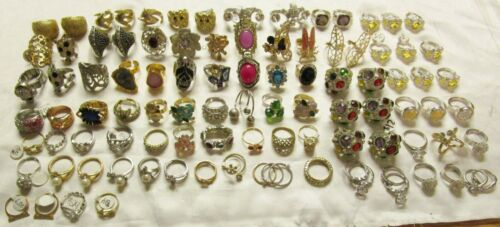 98 Pc Rings Lot Wholesale Resale Good Quality Rhinestones Crystal Mixed Sizes