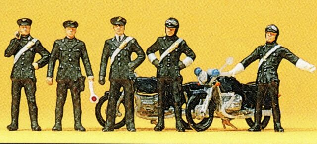 Carabinieri 2 Motorräder Preiser 10175 Figuren Spur HO (16,5 mm) Zubehör OVP