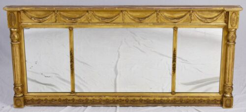 NEO-CLASSICAL Carved Wood and Gesso 3 SECTION MANTLE MIRROR Willamsburg Style