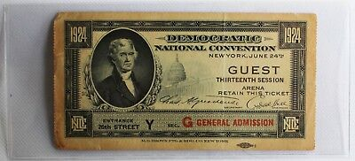 1924 Democratic National Convention Ticket 13th Session General Admission Guest