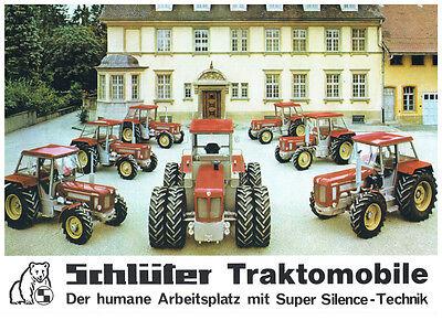 Schlüter Traktormoblile Prospekt Abbildung der Traktoren und Technische Angaben