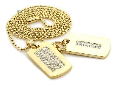 NEW Iced HIP HOP DOUBLE DOG TAG 18k GOLD FILLED W 30