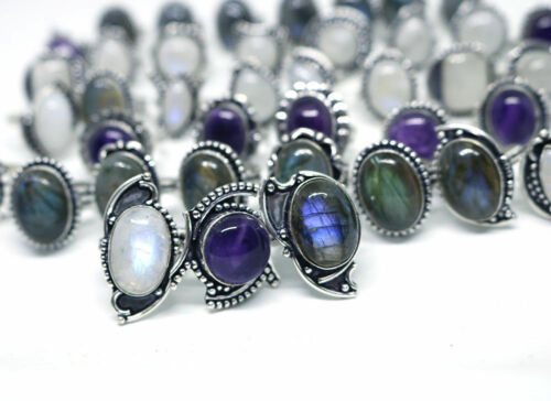 Natural Wholesale 500 PCs Moonstone,Amethyst, Labra. Silver Plated Rings.