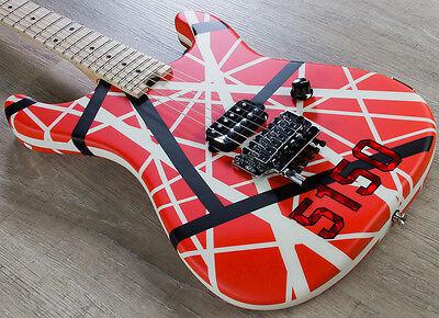 EVH Striped Series 5150 Electric Guitar Maple Fretboard Red Black White Pattern
