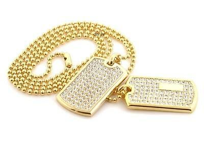 NEW ICED OUT RAPPER DOUBLE DOG TAG 18k GOLD FILLED W 30