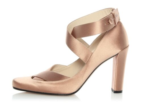 New GUCCI Satin Champagne Ankle Strap Pumps, Size 38.5 8.5 Shoes