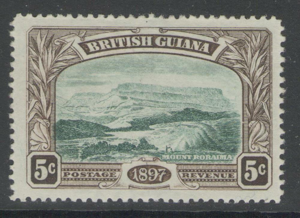 BRITISH GUIANA SG219 1898 5c DEEP GREEN & SEPIA MTD MINT