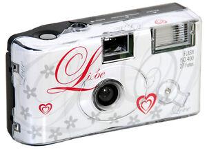 15x Einwegkamera Hochzeitskamera / 400 ASA , 27 Aufnahmen m. Blitz / Liebe Love