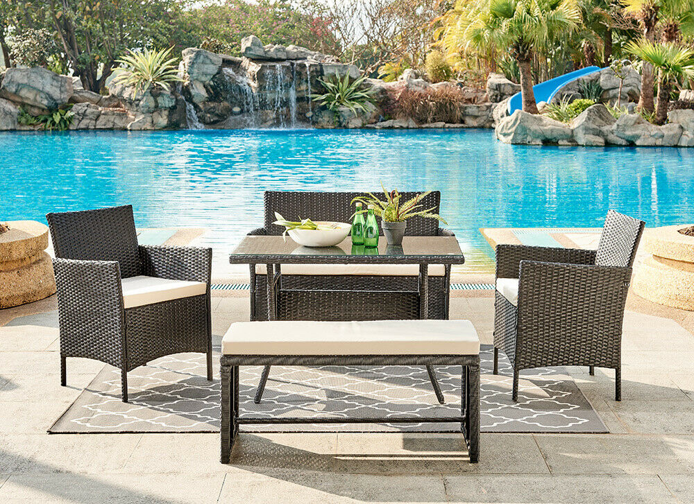 Garden Furniture - Rattan Garden Furniture Dining Set Conservatory Patio Outdoor Table Chairs Bench