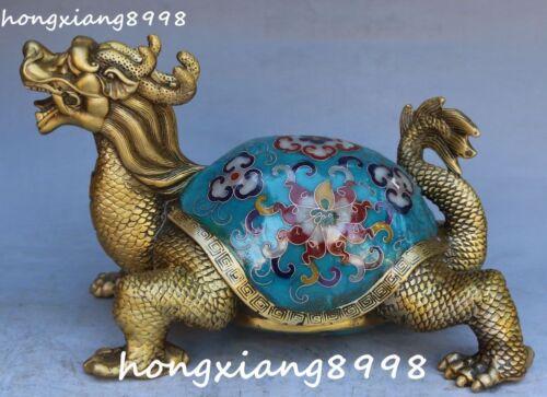 "9"" Rare Chinese Cloisonne Enamel Gilt Dragon Tortoise Turtle Beast Animal Statue"