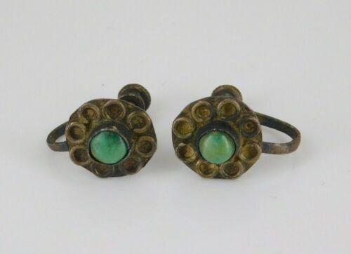 Vintage Southwestern Sterling Silver Turquoise Screw Back Earrings