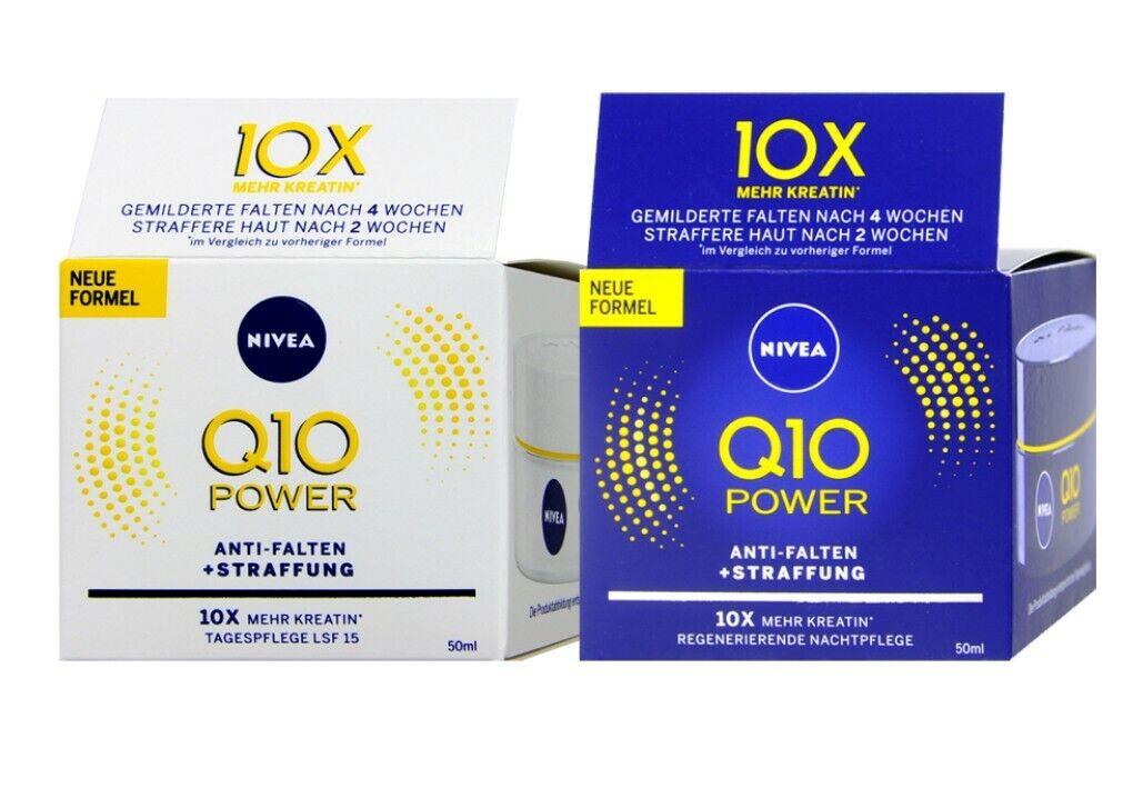 NIVEA Q10 Power Anti Falten + Straffung Nacht und Tagespflege 2x50ml 100ml...