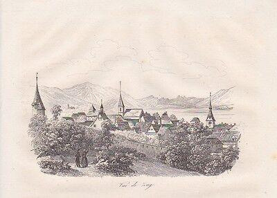 Vue de Zug Zoug Zùùg  Suisse STAHLSTICH v. 1835 Ansicht von Zug Zugersee Schweiz