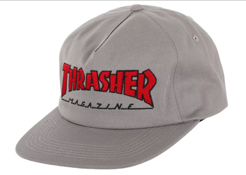 Thrasher Magazine OUTLINED LOGO UNSTRUCTURED Snapback Hat GREY/RED