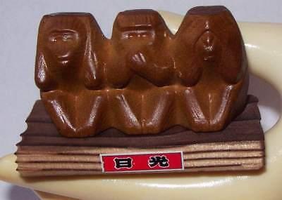 VTG SEE HEAR SPEAK NO EVIL Carved Wood Statue Figurine Three Wise Monkeys JAPAN - $11.52