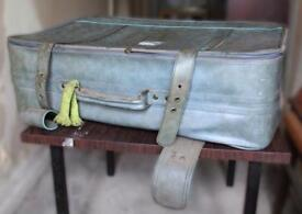 Old Vintage Blue Suitcase - As Seen