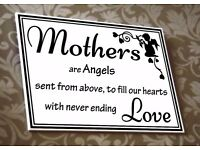 Wall Plaque. Mothers are Angels, See Photo for Words. Wall Writing