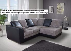*1 YEAR WARRANTY* BENSON JUMBO CORD CORNER OR 3+2*EXPRESS DELIVERY*MADE IN UK*