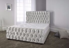 【FREE DELIVERY 】Single Double King Size Bed Frame   Black Gold Silver Crushed Velvet & Grey Fabric