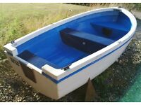 8ft GRP Dinghy with Launching Trolley, Oars and 3hp Yamaha Two-Stroke Outboard
