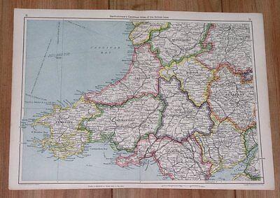 1943 ORIGINAL WWII VINTAGE MAP OF SOUTHERN WALES PEMBROKE CARDIGAN CARMARTHEN