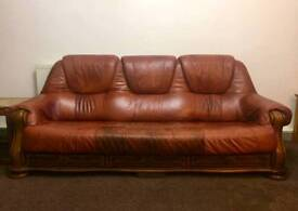 Brown leather sofa. 3 seater + 2 seater
