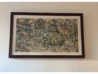 Jackson Pollock Number 8 print in contemporary dark wood frame