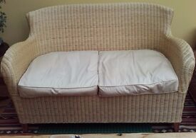 Two rattan sofas and matching armchair. Excellent condition.