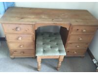 Pine Dressing Table with Stool