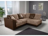 ***BLACK/GREY OR BROWN/MINK*** BRAND NEW JUMBO CORD BYRON CORNER / 3+2 SOFA SET -BEST SELLING BRAND