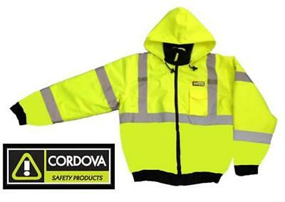 Hi-viz Insulated Lined Safety Bomber Jacket - Lime - Road Work High Visibility
