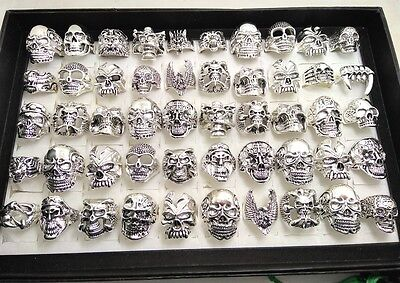 30x Skull Skeleton Gothic Rings Men's Rock Punk style rings Whoelsale Jewelry