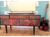 Decoupage Batik dressing table 1960s vintage ,Antique ,retro