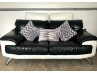 DFS Black and White leather 2 Seater Sofa