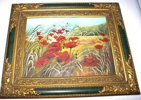 STUNNING FRAMED OIL PAITING OF 'POPPIES IN A FIELD' ARTIST MARGARET SWINGARD LOVELY WORK OF ART J4U